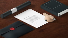 4K - Contract on office desk Stock Footage