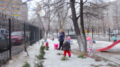 Panoramic View of Childrens Walk on the Court in Kindergarten. Winter, Snow Stock Footage