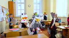 School. View of Children Trying on Their Homemade Mask Stock Footage