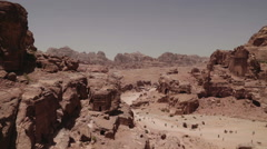 Wide pan of the lost city of Petra Stock Footage