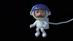 Looping 3d Astronaut floats in space micro gravity with the stars behind him. Stock Footage
