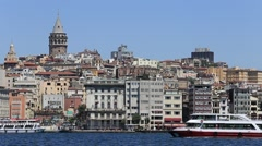 Stock Video Footage of Architecture and Galata tower medieval landmark in Istanbul, Turkey