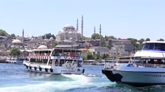 Architecture and Muslim Mosque medieval landmark in Istanbul, Turkey Stock Footage