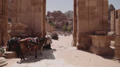 Moving through the colonnade street in the lost city of Petra Stock Footage