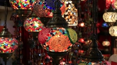 Video 1920x1080  Decorative chandeliers in Grand bazaar. Istanbul, Turkey Stock Footage