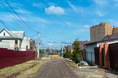 Andreevka, Russia General view of  small town in Stock Photos