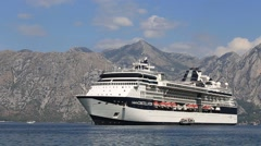 Cruise ship Celebrity Constellation in Boka Kotorsky Bay. Kotor, Montenegro - stock footage
