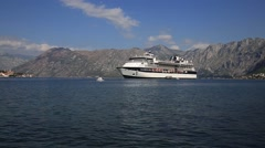 Cruise ship Celebrity Constellation in Boka Kotorsky Bay. Kotor, Montenegro Stock Footage