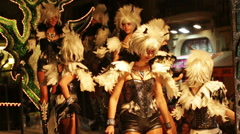 Procession of Carnival at Sitges in evening time Stock Footage