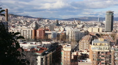 General view of Barcelona from high point Stock Footage
