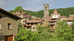 View of old catalan village. Rupit i Pruit, Spain - stock footage