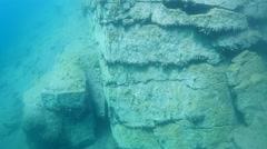 Granite rocks under water Stock Footage