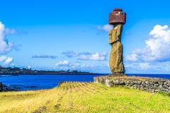 Moai at Ahu Ko Te Riku - stock photo