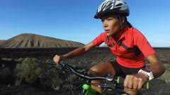 Recreational Mountain Biking Woman Cycling on MTB - Healthy Active Lifestyle Stock Footage