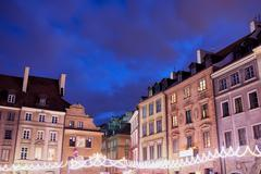Houses in Old Town of Warsaw at Night - stock photo