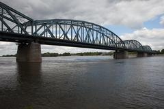 Pilsudski Bridge on Vistula River in Torun Stock Photos