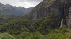 Rugged Andean scenery at 4,500m elevation with a waterfall running down a cliff. - stock footage