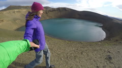 Couple Tourists on Travel Visiting Iceland Nature Stock Footage