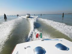 Rear view of water lane seen from boat - stock photo