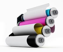Rolled paper inside CMYK printing cylinders - stock illustration