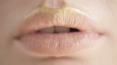 Professional Make-up. Lipgloss. Lipstick. Sexy Lips Extremely Close Up Stock Footage