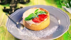 Motion, Food dessert food movement sprinkle with powdered sugar from semolina - stock footage