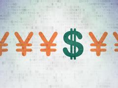 Money concept: dollar icon on Digital Paper background Stock Illustration