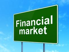 Money concept: Financial Market on road sign background Stock Illustration
