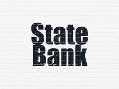 Currency concept: State Bank on wall background Piirros