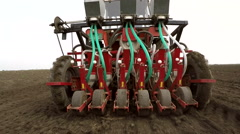 Machine sowing onion in the spring. Stock Footage