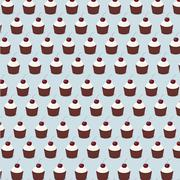cupcake pattern seamless vector - stock illustration