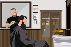 Client visiting hairstylist in barber shop - stock illustration