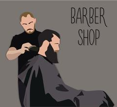 Stock Illustration of Client visiting hairstylist in barber shop
