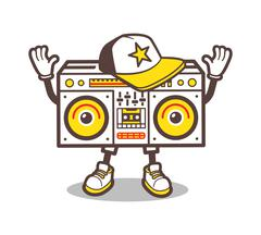Cartoon boom box character vector design for tee - stock illustration
