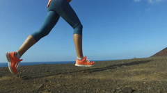 Running Woman Outdoor On Run in Mountains - Shoes and legs close up - stock footage