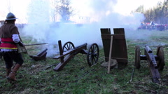 Stock Video Footage of Salvo of Cannons shot.