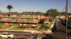 View of projects in inner city Los Angeles - stock footage