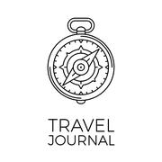 Retro thin line travel illustration. Outline vintage journey symbol. Simple mono - stock illustration