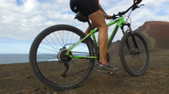 Woman Cycling On Mountain Bike MTB In Nature - Girl Exercising In Summer Stock Footage