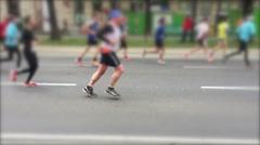 Marathon. Race through the city streets Stock Footage