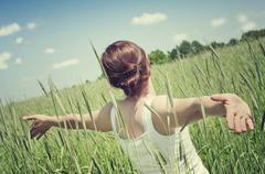 Young, healthy woman enjoying life - stock photo