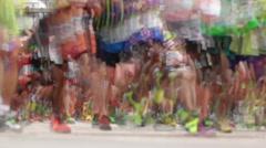 Marathon. Race through the city streets. Stock Footage