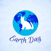 Silhouette of a cat over planet Earth. Earth Day Stock Illustration