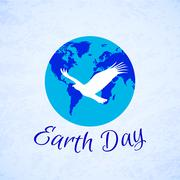 Silhouette of eagle over planet Earth. Earth Day - stock illustration