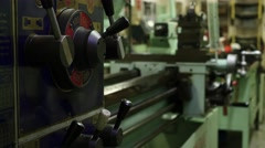 Lathe refocus from gear box to apron. - stock footage