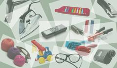 collage for advertising a large assortment of goods translucent background - stock illustration
