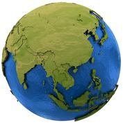 Asian continent on Earth - stock illustration