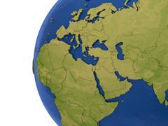 EMEA region on Earth - stock illustration