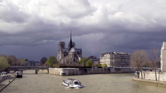 Shadow falling over Notre dame in Paris. Moody establishing shot Stock Footage