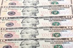American ten dollars, a background Stock Photos